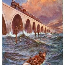 Perspective view of an arched railway bridge over the sea with a steam train coming forward