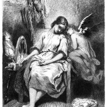A winged, figure snuggles up to a girl asleep in a chair next to a spinning wheel