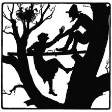 An old man is silhouetted in the higher parts of a tree helping an old woman up