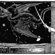 A dragon flies away across the starry sky, as a hand wields a sword from a castle window