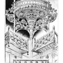 Plate showing Art Nouveau designs for balconies, the center one displaying plant-like decoration