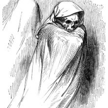 A skeleton is draped in a hooded gown, leaving only its skull to be seen