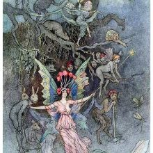 A fairy stands in front of a burrow opening, surrounded by various Little Folk creatures