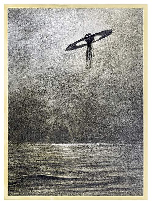 A UFO in the shape of a disk with a floating sphere at its center hovers over the sea
