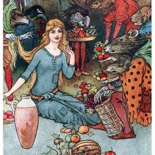A girl is sitting on the ground among creatures with animal heads trying to sell her fruit