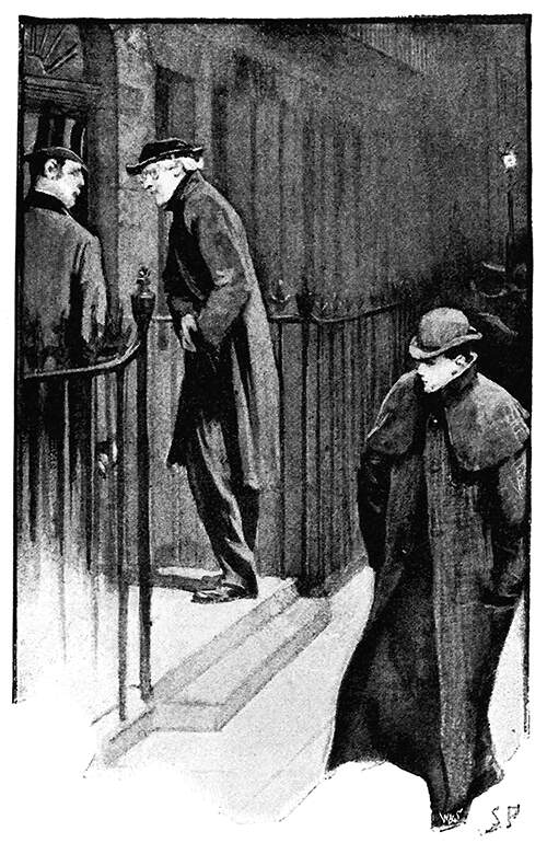 Two men stand on a doorstep at night, ready to go inside as a third one walks on past them