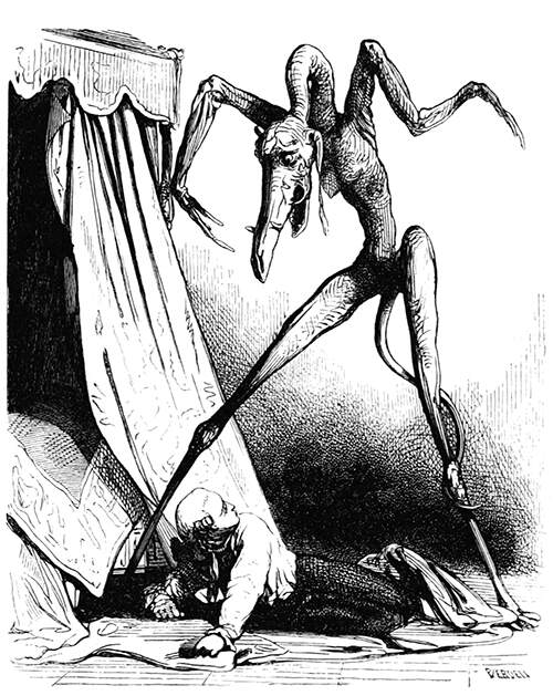 A man lies on the floor beside his bed with a monstrous creature standing tall over him