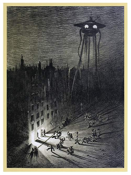 A small crowd is dancing the street at night as a towering robot-like figure watches in dark