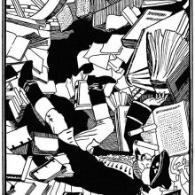 A man is falling backwards among piles of books cascading over him