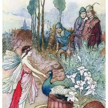 A fairy works her magic to provide beggars with peacock pie, a piece of venison and lily flowers