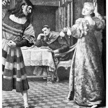 A woman hands out a purse to her baffled husband as a prelate sits in the background