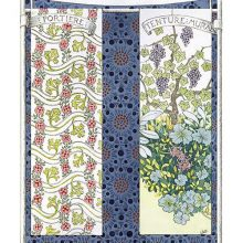 Plate showing samples of printed fabric with floral design
