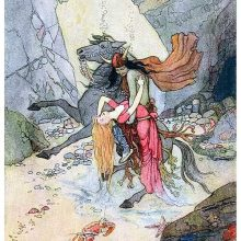 At the bottom of the sea, a man riding a rearing horse lifts a languid woman from the ground