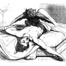 A winged monster is crouching on the chest of a sleeping man and looks at the viewer