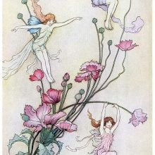 Three fairy-like creatures are fluttering about long-stemmed flowers