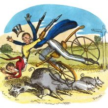 Two men riding a dandy horse on a country road run into a sow and fall over