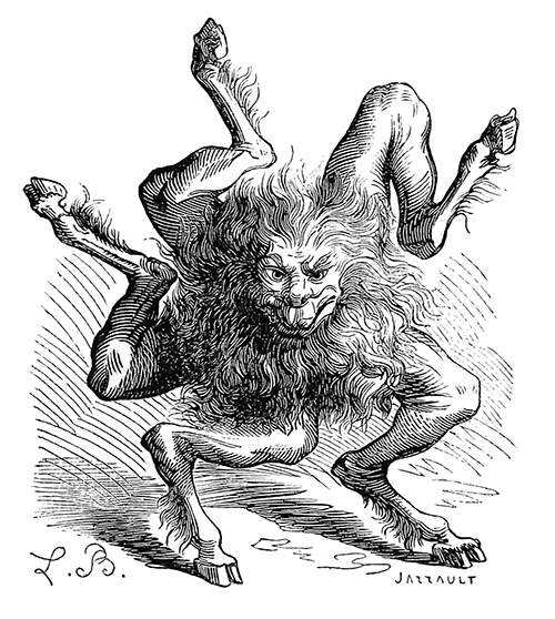 Depiction of Buer, a second-class demon and president of hell who teaches philosophy and logic
