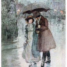 A woman and a man are walking together in the rain protected by an umbrella