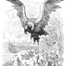 A bird is soaring with a man trapped in its claws as a group of people them fly away