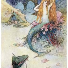 A mermaid is combing her hair at the bottom of the sea as a serpent cranes its neck toward her