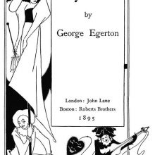 Title page for Keynotes showing a woman wearing a large hat, a Pierrot, and a guitar player