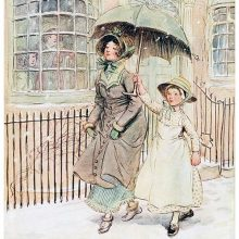 A woman walks smugly in the falling snow, protected by a young maid carrying an umbrella