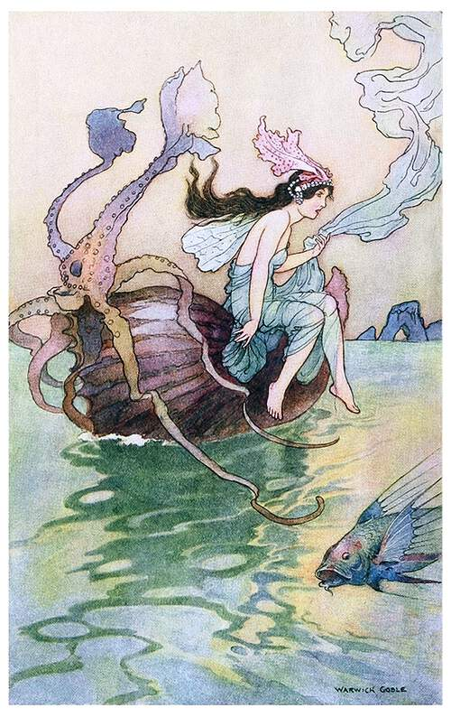 A fairy sits on the edge of a boat made of a nautilus shell floating on the open sea