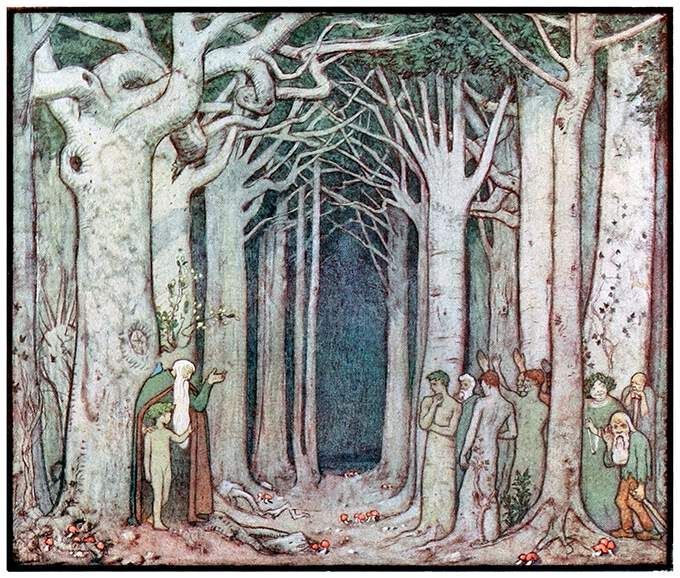 A figure with a long white beard talks to a group of supernatural creatures in a forest