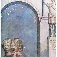 A boy and a girl are side by side, visible from the chest up under the arch of a Roman building
