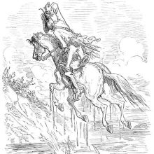 A rider and his horse are suspended over a swamp as the rider keeps pulling on his braid