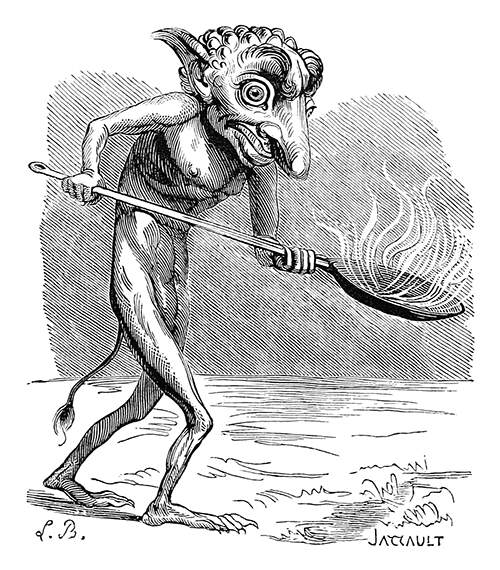 The demon Ukobach is said to be the inventor fireworks and usually depicted with a flaming body