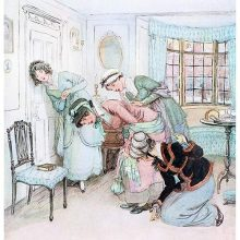 Four women stoop at the door of a sitting room to listen to an argument on the other side