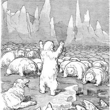 A herd of crawling white bears covers an ice field, surrounding the one bear that stands erect