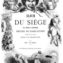Title page of Album du siège showing a man eating rats and other scenes depicting famine