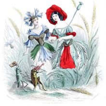 A cornflower and a poppy are depicted as women holding hands among weeds and wheat ears