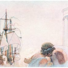 A girl and a young man are kissing as a ship ready to sail waits in the background