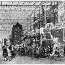 Perspective view of the foreign nave at the Great Exhibition of 1851 in Crystal Palace