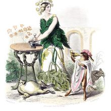 Hemlock is depicted as a woman using a pestle and mortar as a frog lies dead at her feet