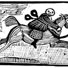 A man with two bottles hanging from his belt is riding a galloping horse.