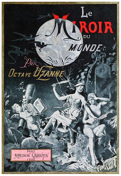 Front cover of Le Miroir du Monde showing two sitting women, a winged putto, and the full moon