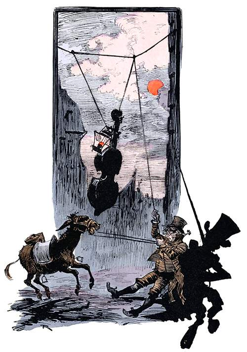 A man holding a donkey by the bridle pulls on a rope in order to haul up a cello