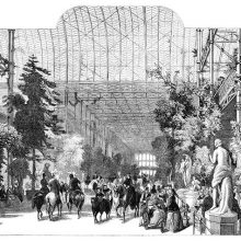 View of the Crystal Palace lined with vegetation as people on foot or on horseback go to and fro