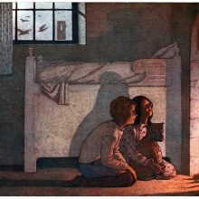 A boy and a girl are kneeling in front of a fireplace as the fire lights up their faces