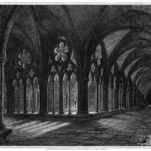 Perspective view of the cloister of Salisbury Cathedral as seen from the North-East