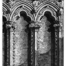 Gothic niches of the old organ screen of Salisbury Cathedral, showing ornate columns