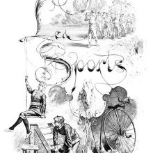 Series of drawings showing men marching in the country, women lifting weights, a bicycle, etc.