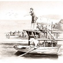 A woman is about to dive from a pier as another talks to a third woman in a rowboat
