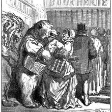 A lion and a bear stand in line at a butcher's shop, scaring the woman in front of them