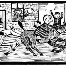 A man riding a galloping horse through the streets is pursued and shouted at by the onlookers
