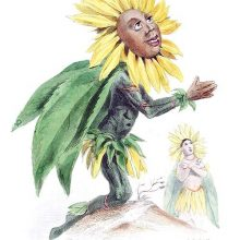 A sunflower is depicted as a kneeling male figure looking at the sky with his hands together